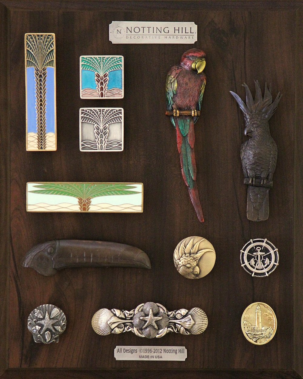 Royal Palm Pull (vertical), 2 Knobs, Royal Palm Pull (horizontal); Macaw Pull (L), Cockatoo Pull (R), Toucan Pull (L), Small Toucan Knob (L); Ship's Wheel Knob, Seaside Collage Knob, Pull; Guiding Lighthouse Knob.