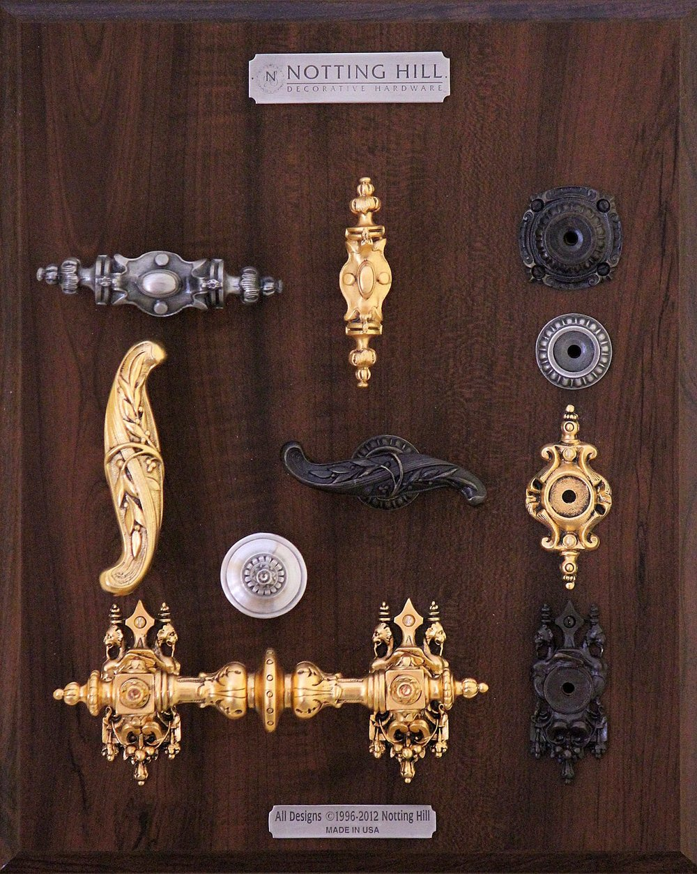 Pembridge Pull, Pembridge Knob, Queensway Back Plate, Kensington Back Plate, Chelsea Pull, Chelsea Knob; Pembridge Back Plate, Portobello Road Knob, Pull, 3 Griffin Back Plates.