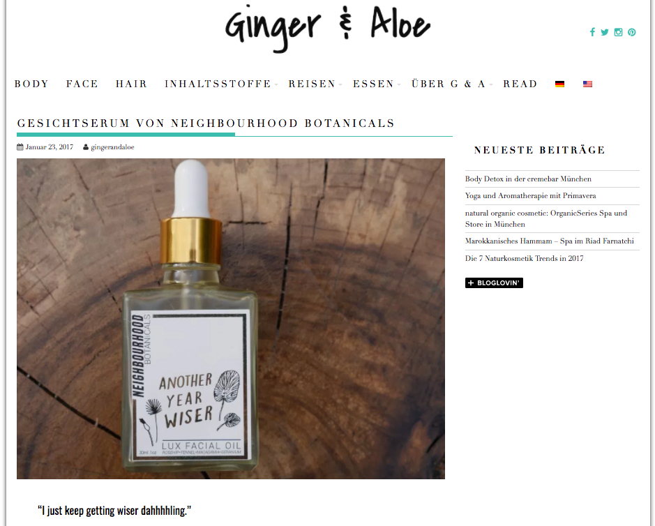 Ginger & Aloe - Another Year Wiser, Jan '17