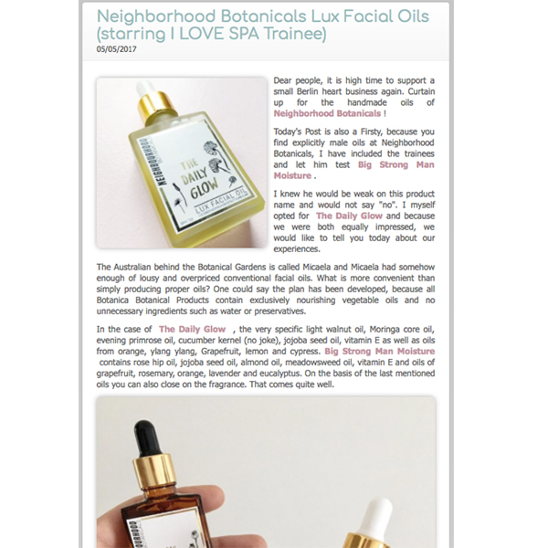 I <3 Spa - The Daily Glow and Big Strong Man Moisture, May '17