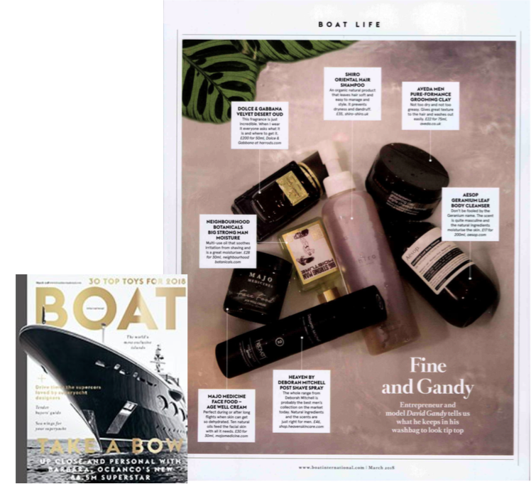 BOAT International - Featured as part of David Gandy's 'washbag' roundup.