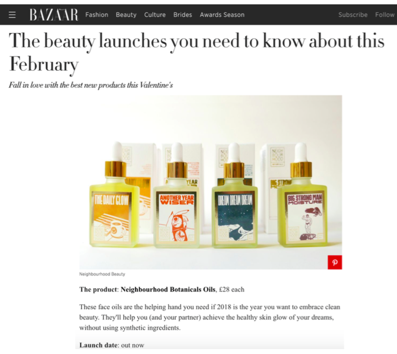Harpers BAZAAR - 'Beauty launches you need to know about'Feb 2018