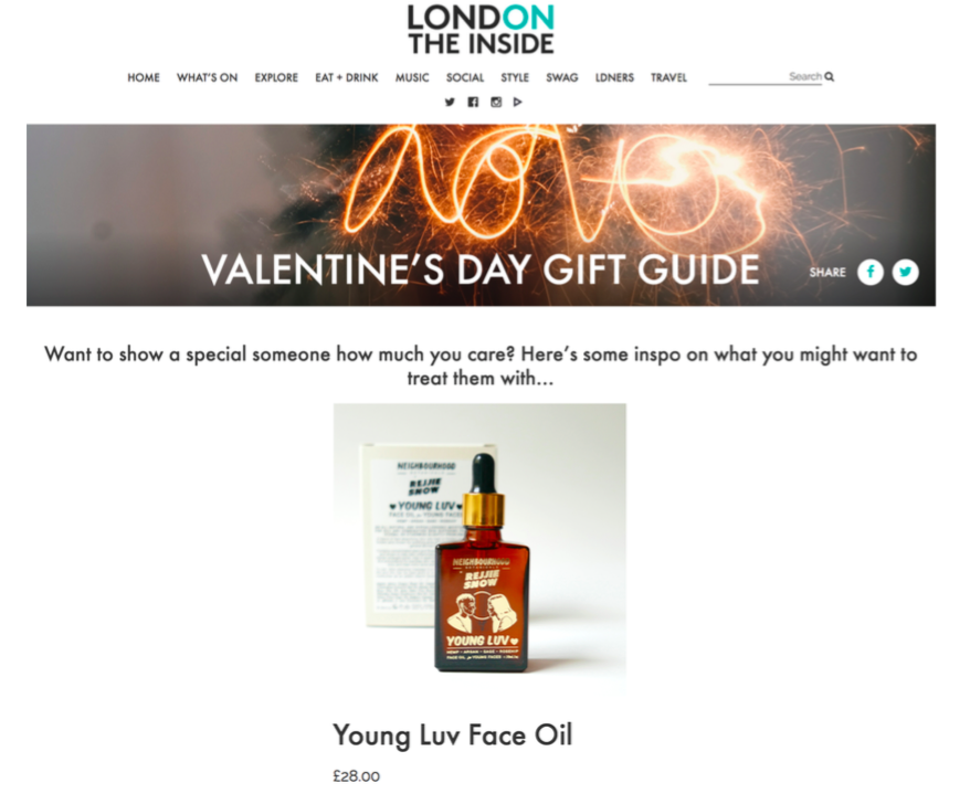 London On The Inside - Featured in the Valentine's gift guide, Feb 2018.