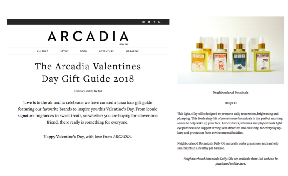 ARCADIA - Feautred in the Arcadia Valentines Gift Guide 2018
