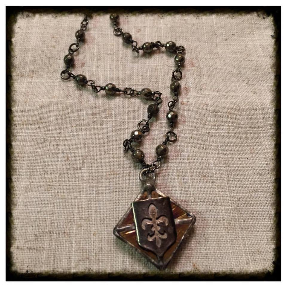 Pyrite and Fleur di lis short necklace.jpg