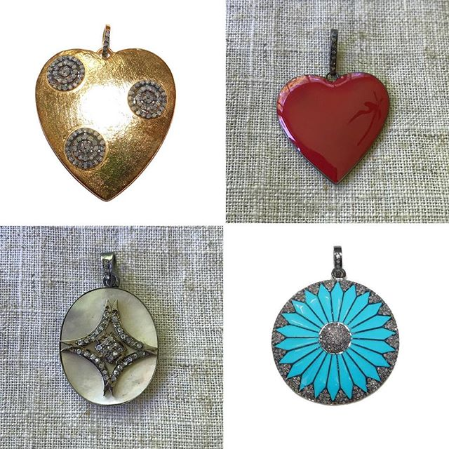 The gold heart and turquoise pendant have already headed to their Mothers Day recipients.... Mothers Day is just around the corner! . #myredbead #mothersday2018 #mothersdaygift #i❤️Mom #dontforgetmom #pavediamonds #diamondjewelry #shoppingtherapy #mop #motherofpearl #enameljewelry #heartpendant #heartjewelry #diamondsareforever