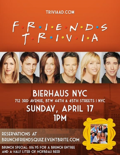 Friends Brunch Trivia — Bierhaus NYC - German Restaurant & Biergarten