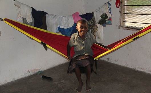 A Hammock being used in the home of a Kenyan family to provide sufficient places sleep.