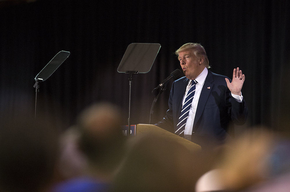 "Republican presidential candidate Donald Trump speaks at the  ""Donald J. Trump for President Rally""  in Manchester, N.H."