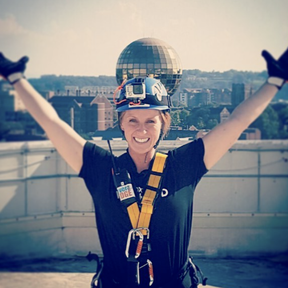 Image from  Erin's Instagram , celebrating her fundraising for  the restoration house  via knoxville's ' over the edge ' challenge