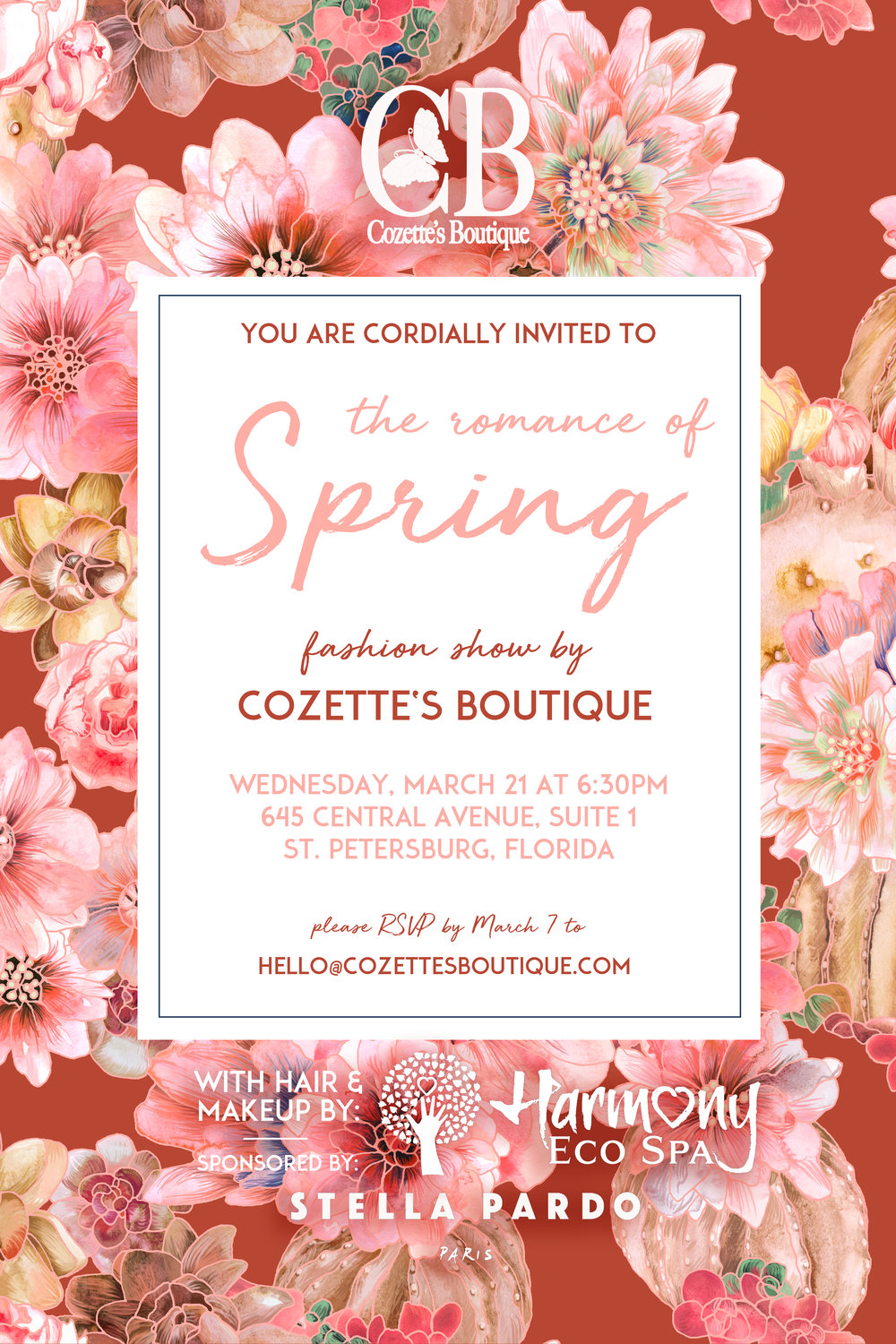 Fashion Show invitation for Cozette's Boutique, featuring a Stella Pardo original pattern and logos from the participating sponsors.