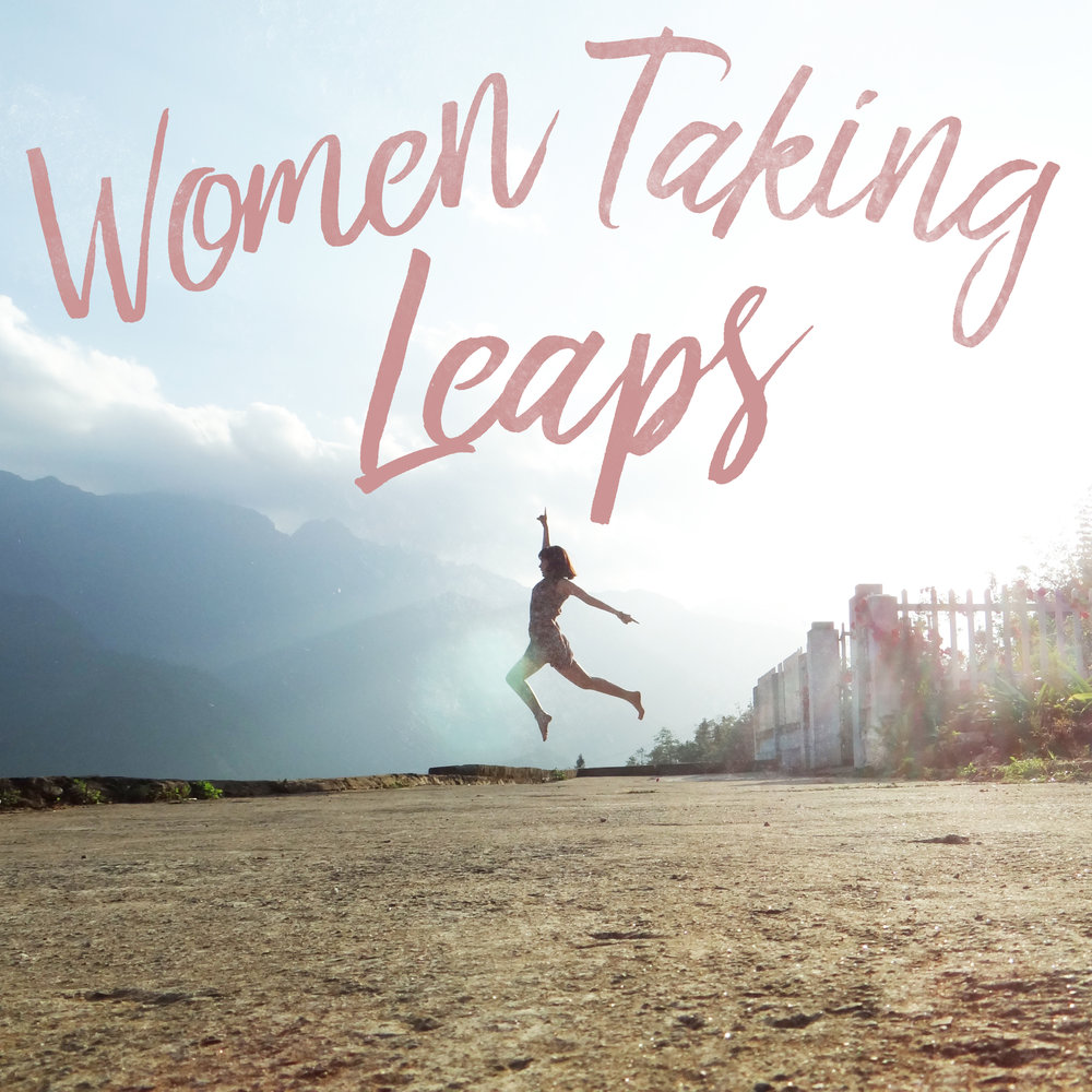 Square graphic for promoting or highlighting the Women Taking Leaps series.
