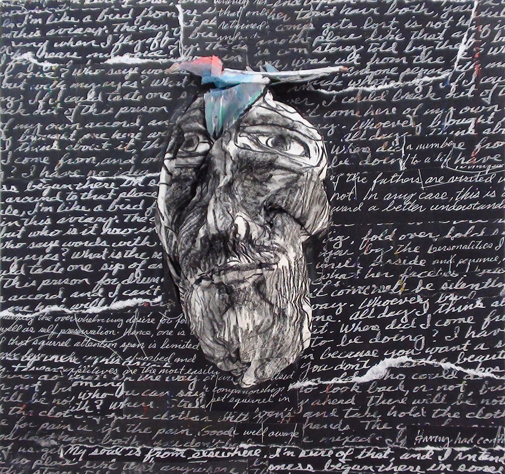 My Soul is Elsewhere    mixed media on wood panel   12 x 12 x 2 in.   2010