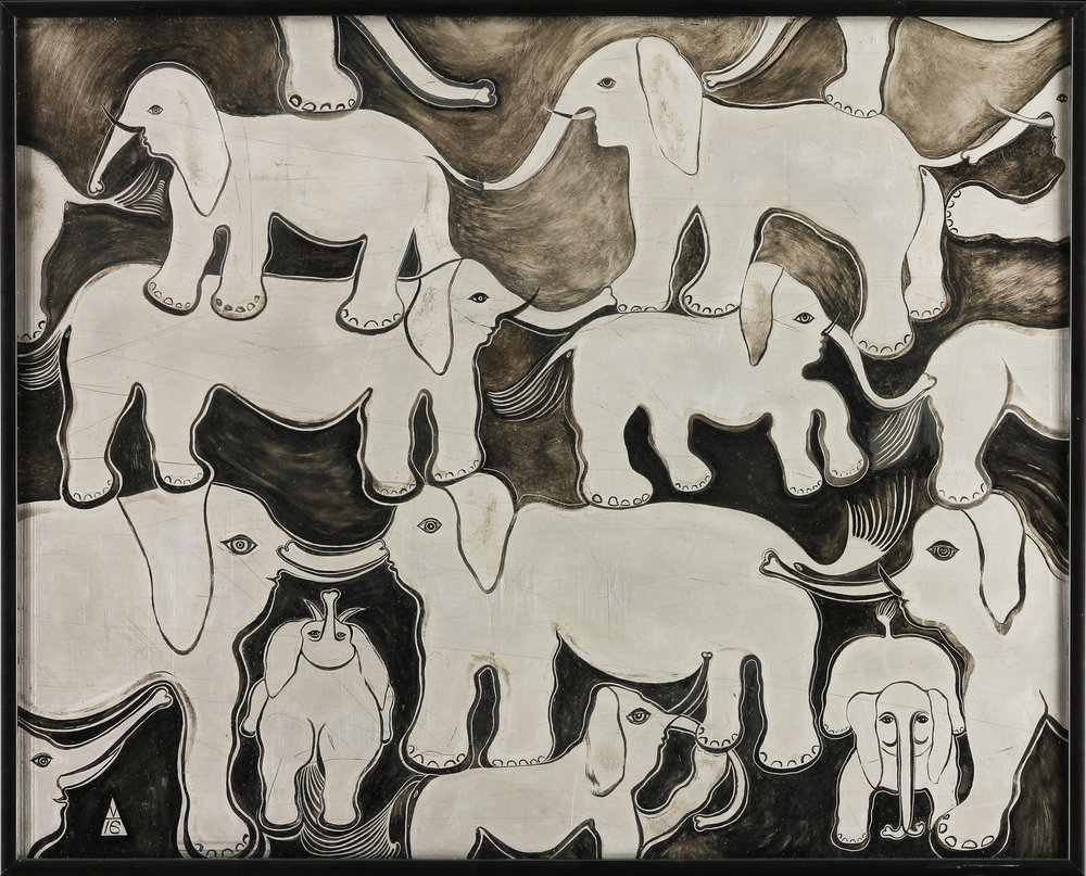 "Elephants oil on stainless steel  18.5"" x 20"""