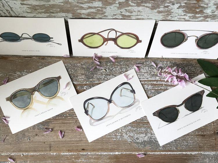 d65f50e938 Set of 6 Postcards  Vintage Sunglasses 1850-1970 — Jan Dicks