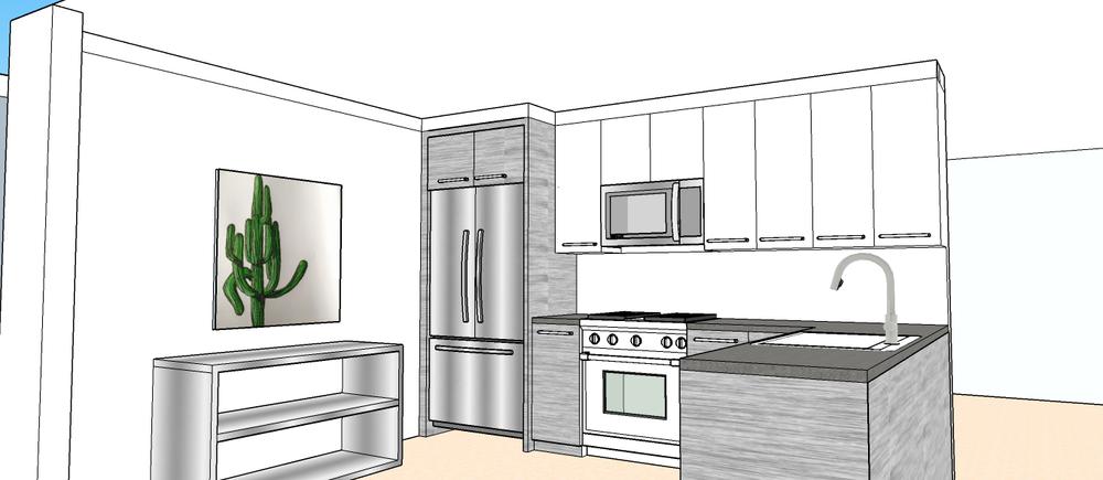 3-D Drawing, Kitchen Renovation.