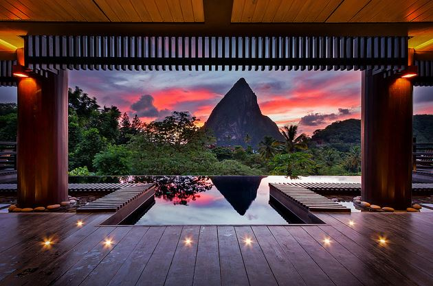 View of the Pitons at the Boucon Restaurant