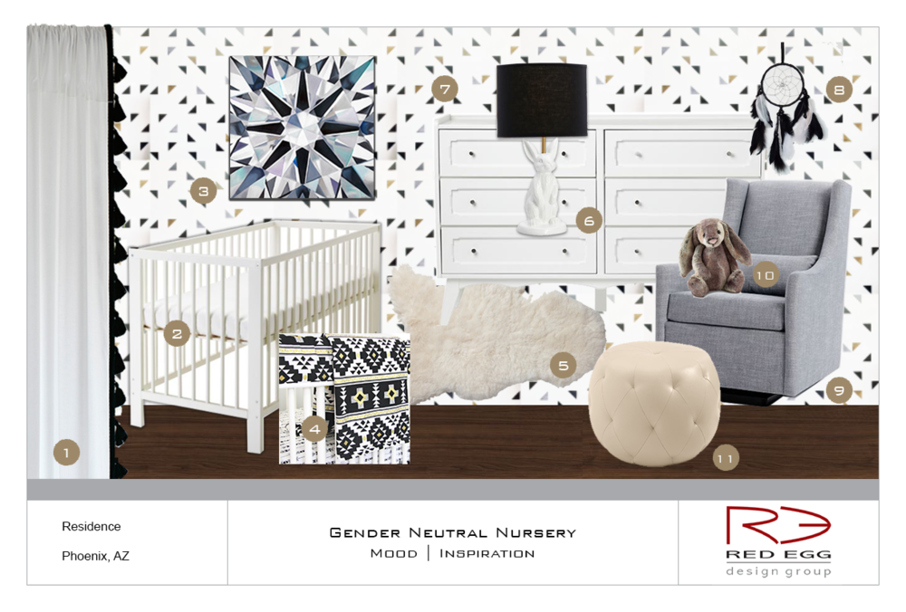 Get the look: 1. Curtain Panels | 2. Crib | 3. Angie Crabtree Giclee | 4. Bedding | 5. Sheepskin Rug | 6. Lamp | 7. Dresser | 8. Dream Catcher | 9. Glider | 10. Stuffed Bunny | 11. Ottoman