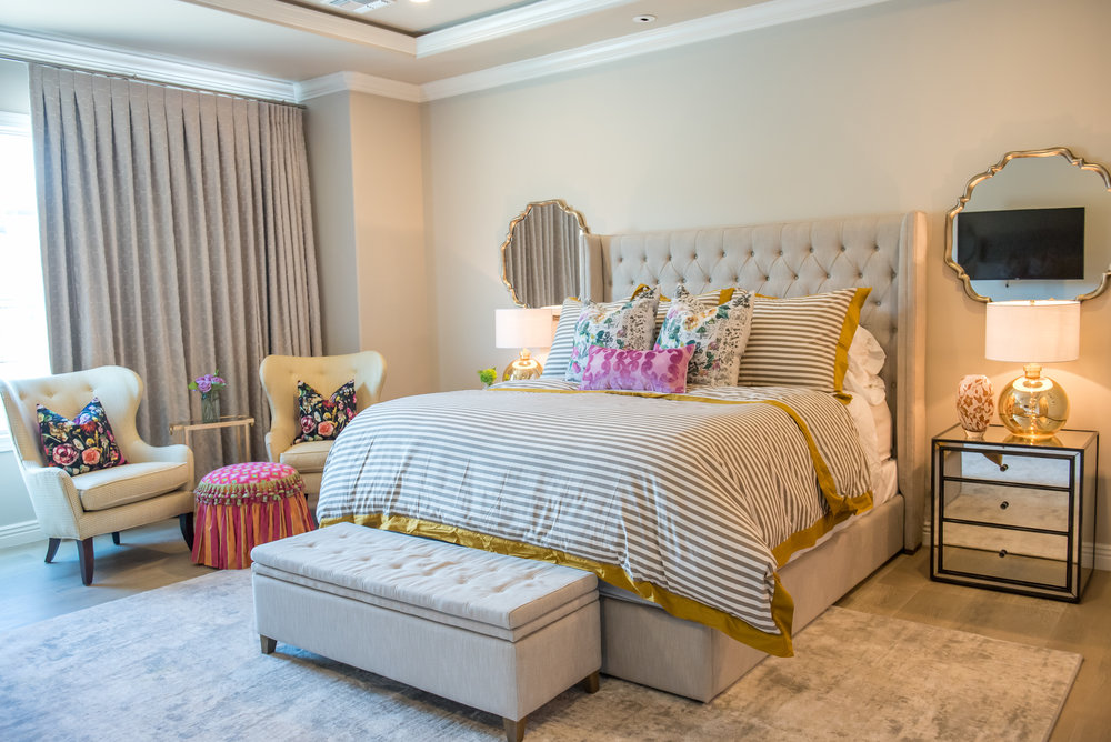 Adding in the colors is what makes a space fun and have its own personality to it. With that being said, we add the colors in the accessories. These include pillows, rugs, drapery, and other objects that might have meaning to the area but also the client.