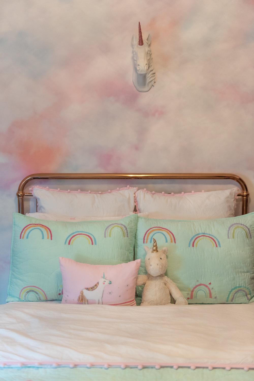 girls bedroom +rose-gold +bed-frame +unicorn +bedding.jpg
