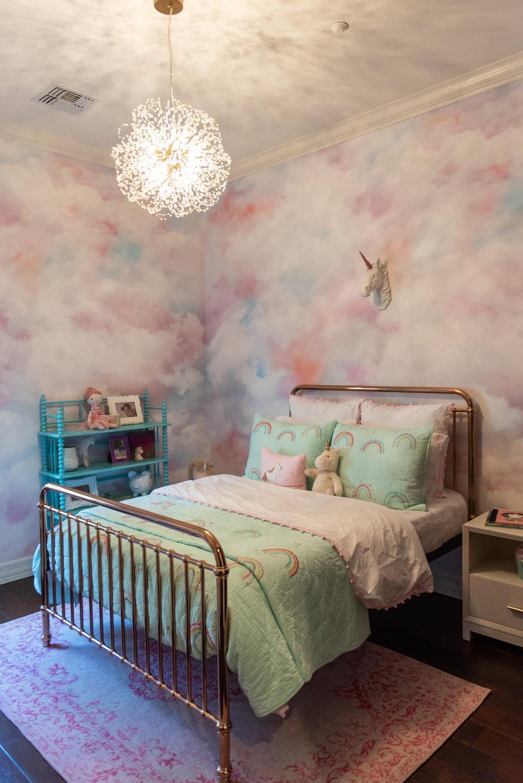 girls bedroom+wallpaper+unicorn+bedding+bedframe.jpg