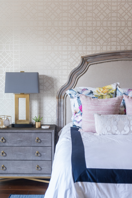 Master bedroom +lamp +nightstand +throw pillows +bedding +wallpaper +headboard .jpg
