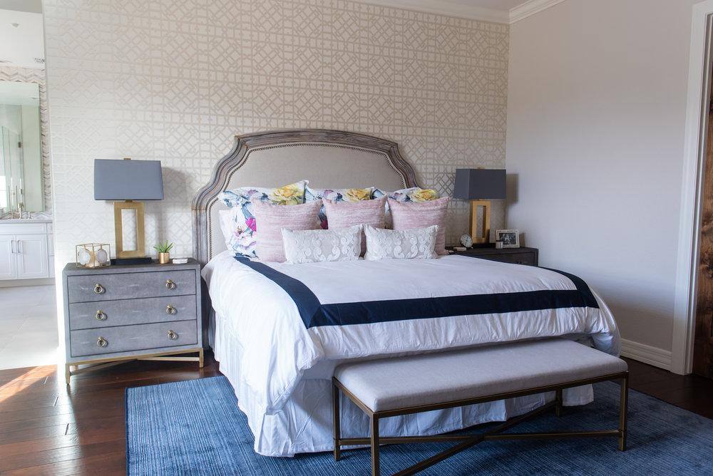 Master bedroom +lamp +nightstand +throw pillows +bedding +wallpaper +headboard +bench.jpg