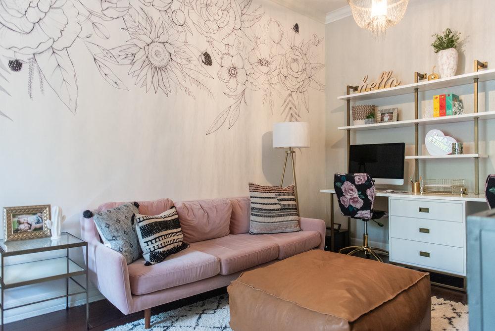 Playroom+ office +velvet +desk +wallpaper +floral +throw-pillow +ottoman .jpg