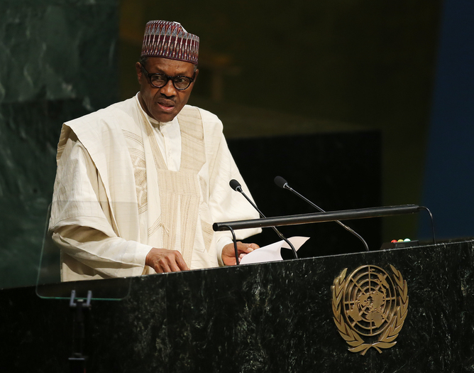 NIgerian President Muhammadu Buhari at the 70th session of the United Nations General Assembly. EPA/Matt Campbell