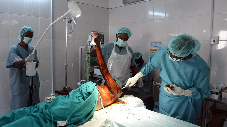 A man undergoes surgery in a hospital ward after being injured in an attack by Boko Haram militants in Maiduguri, capital of northeastern Nigeria's Borno state in February 2016.  (Pius Utomi Ekpei / AFP/Getty Images)