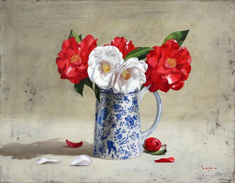 紅白の椿 )(イギリスの花器)6号
