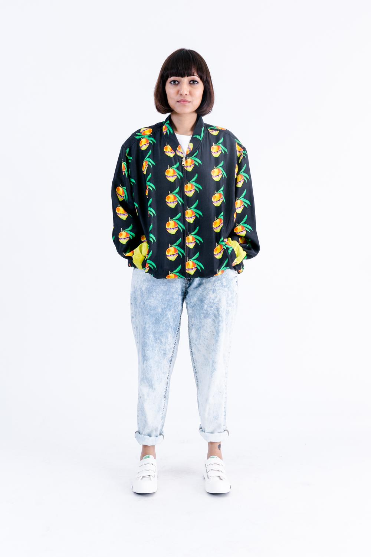 NBNW X RP Mangoverse Mango Print 100% Silk Bomber Jacket