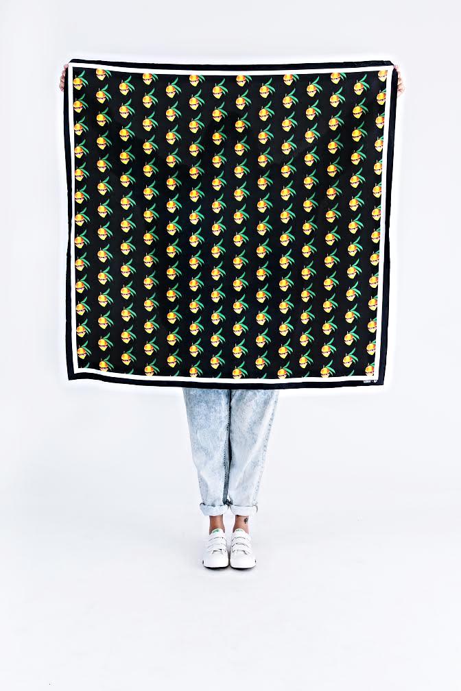 NBNW X RP Mangoverse Mango Print 100% Silk Scarf in Black