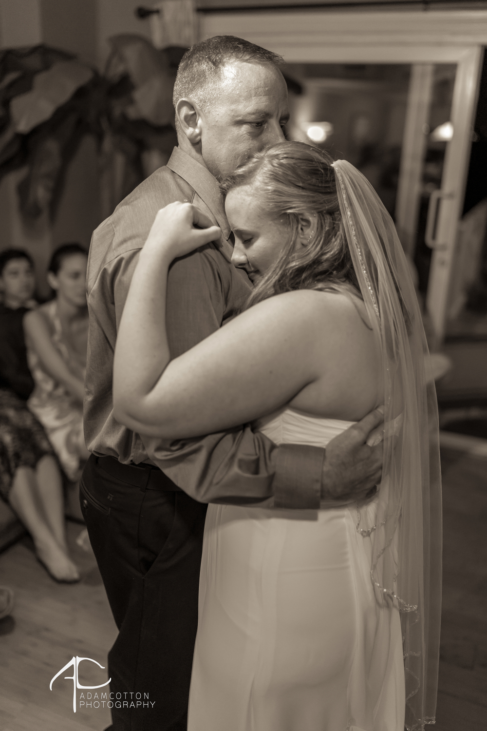 black and white image father bride dance wedding pensacola beach