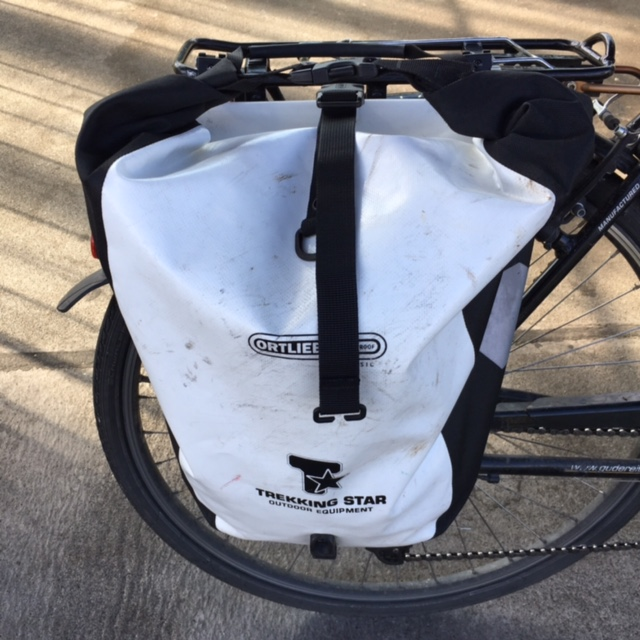 An Ortlieb classic pannier attached to a bike