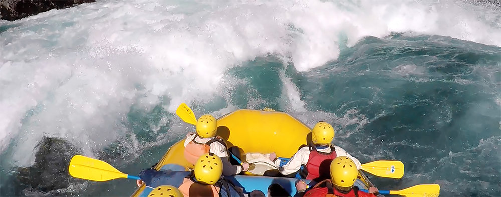 "Entering ""Entrada"" - the first of the Class V's in Inferno Canyon - making our 18ft raft look like a rubber ducky."