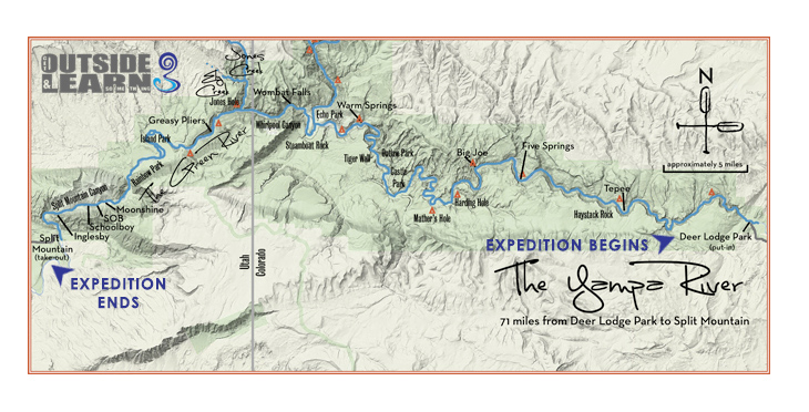Yampa Canyon map created by our partners at ARTA River Trips.