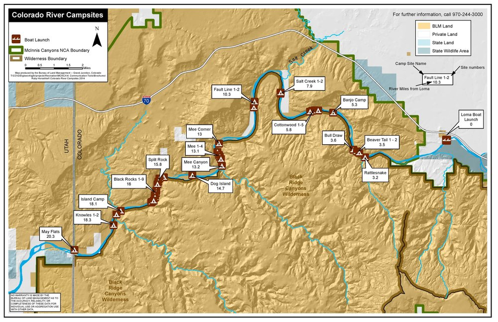 Map of the Ruby / Horsethief section of the Colorado River - our first section of travel before entering Westwater Canyon. Courtesy of Colorado Canyons Association - numbers are mileage from Loma boat ramp.