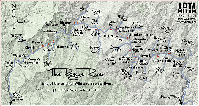 Map of the Wild & Scenic Rogue River - compliments of our partnering outfitter, ARTA rver trips.