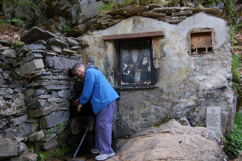 St. John of Rila drank from this cold, sacred spring.  It is the custom to let water run over your hands, a type of blessing.   Notice the pieces of paper with prayers written on them.