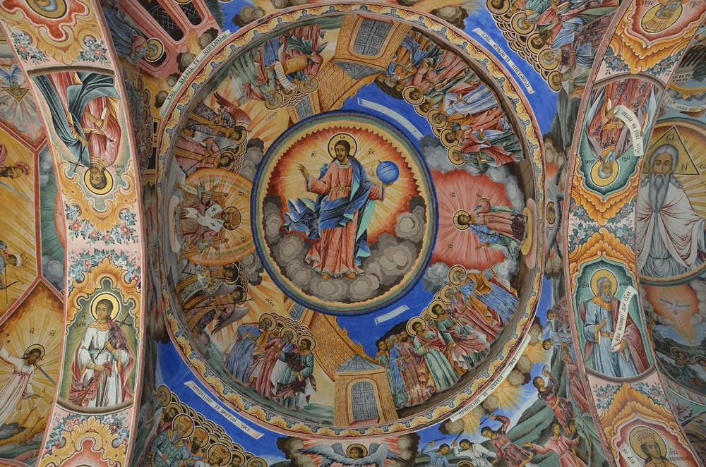 Church of the Nativity, Rila Monastery, Bulgaria.    This area shows the complexity of laying out the paintings.      © Del Weliver