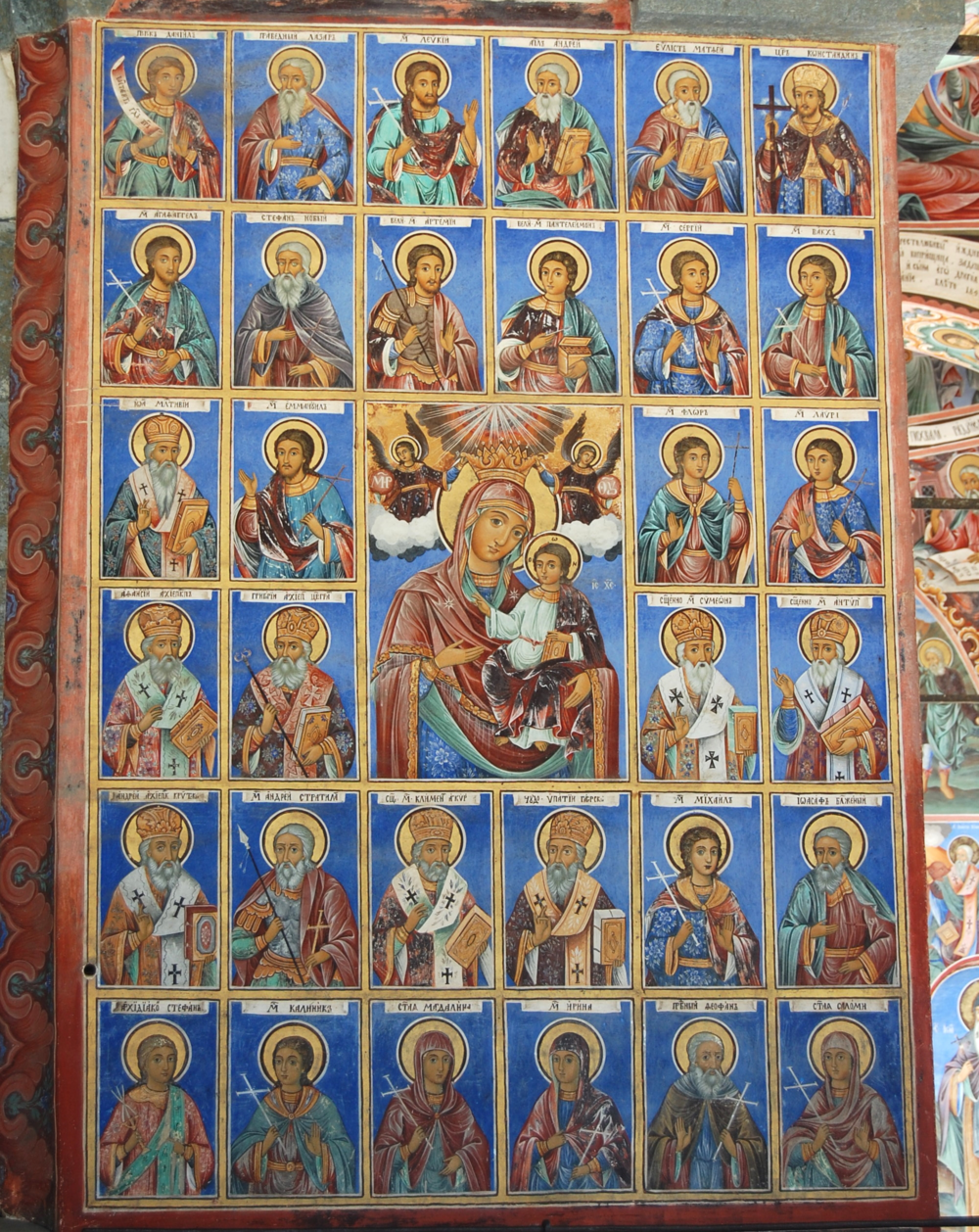 These images are of saints connected with the life and deeds of the Holy Virgin.  © Del Weliver  Church of the Nativity, Rila Monastery, Bulgaria