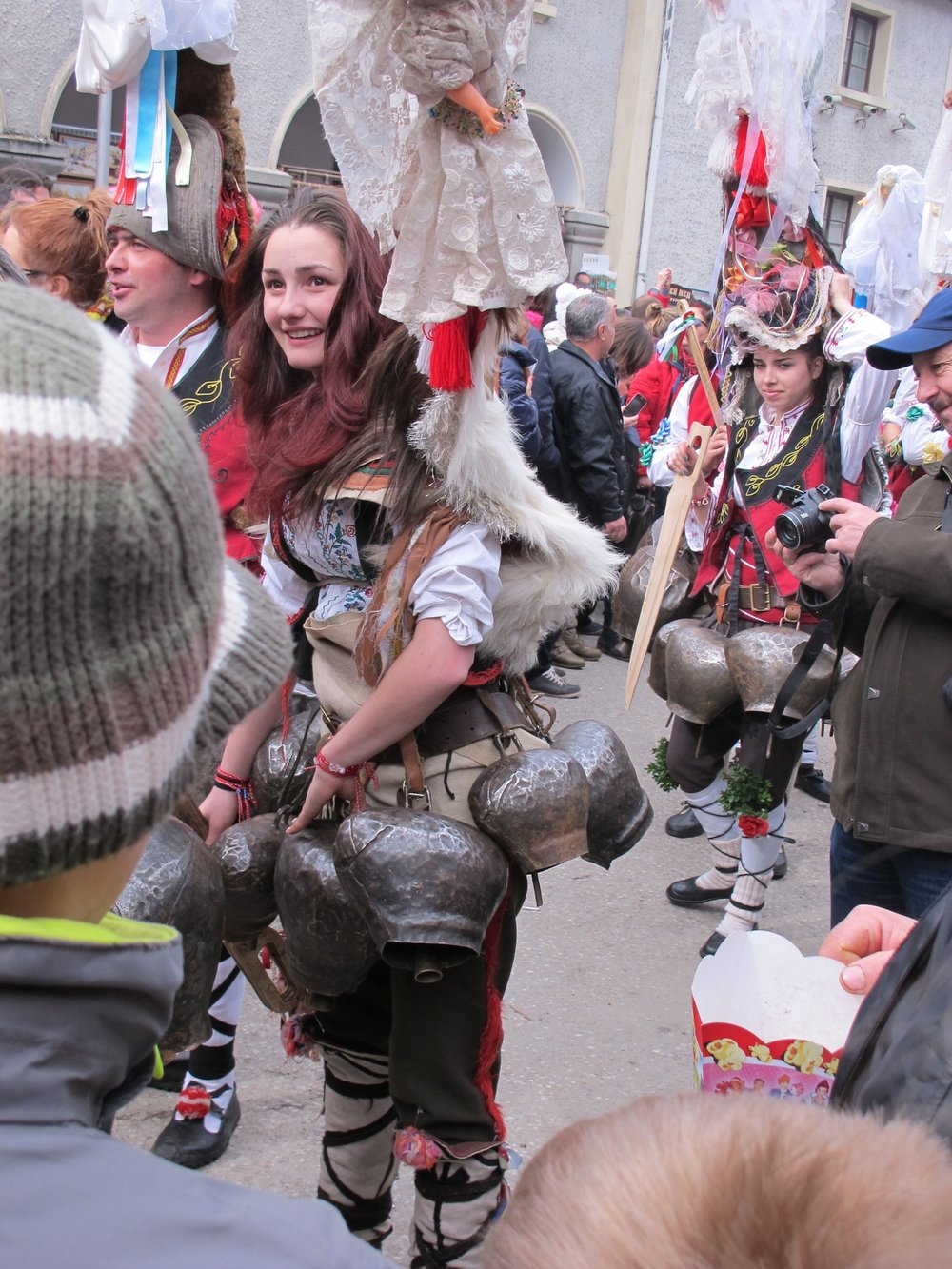 These old bells show the hand hammer marks., Shiroka Laka, Mummers' Festival, Bulgaria  ©   Evelyn Weliver