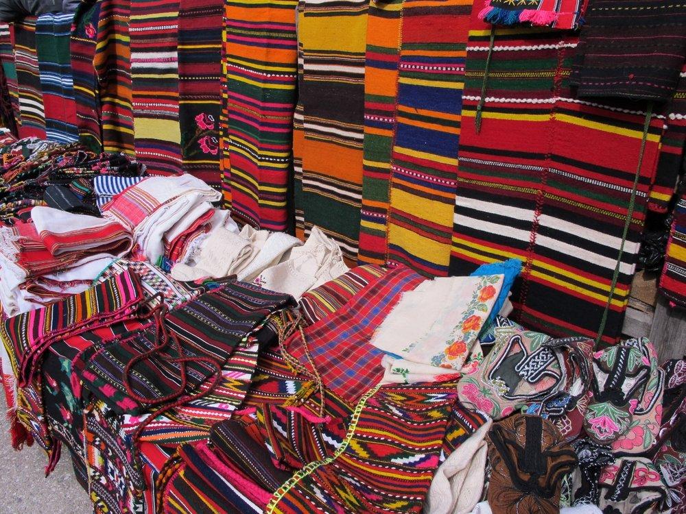IMG_3054  Handwoven items for sale, Shiroka Laka, Bulgaria.  © Evelyn Weliver