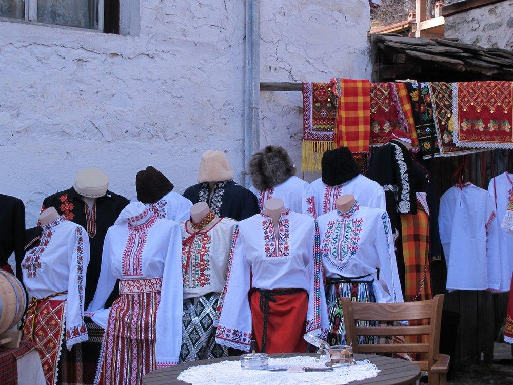 IMG_3059  Hand embroidered folk costumes for sale. Shiroka Laka, Bulgaria.  © Evelyn Weliver