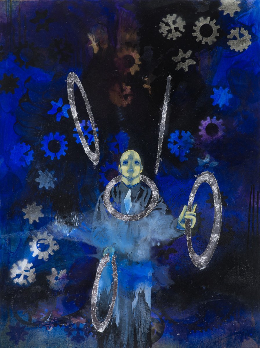 The Juggler (The Emperor)  2016 oil, spray paint and metal leaf on canvas 101 x 76cm