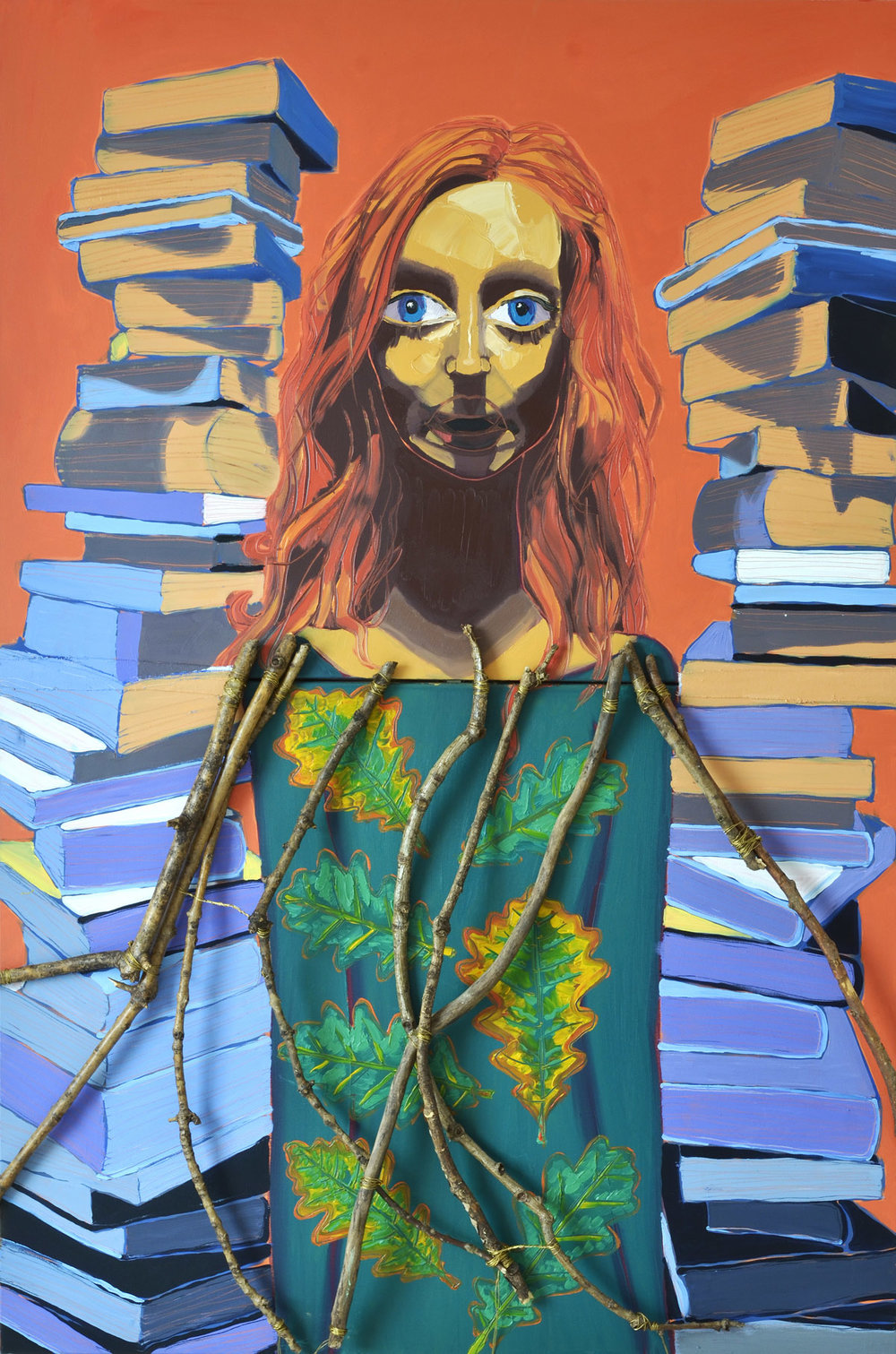 The Librarian (The High Priestess)  2012 oil, copper wire and oak tree branches on canvas 152 x 102cm