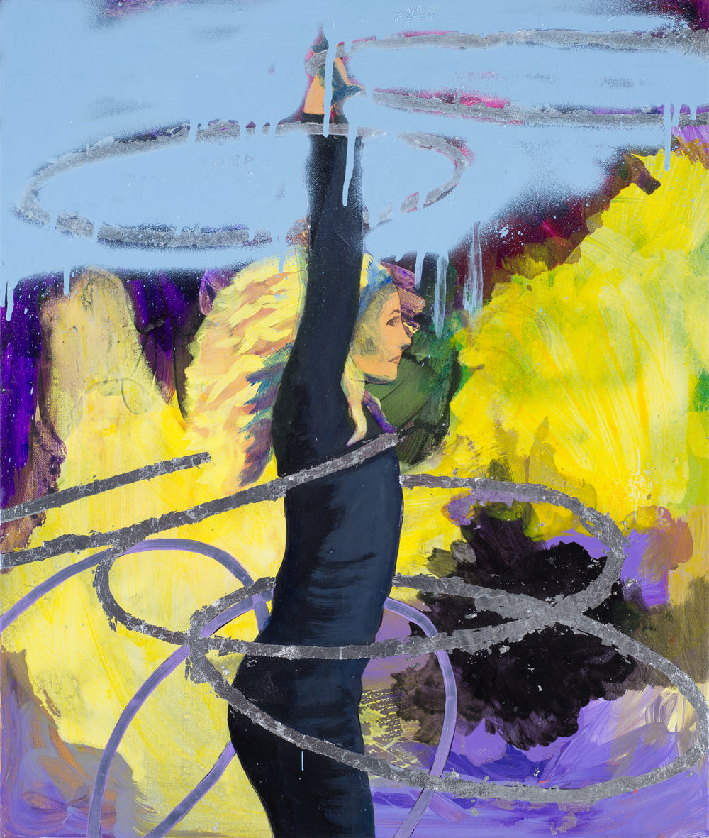 Hoop Dancer study I  2016 oil, spray paint and metal leaf on canvas 61 x 51cm