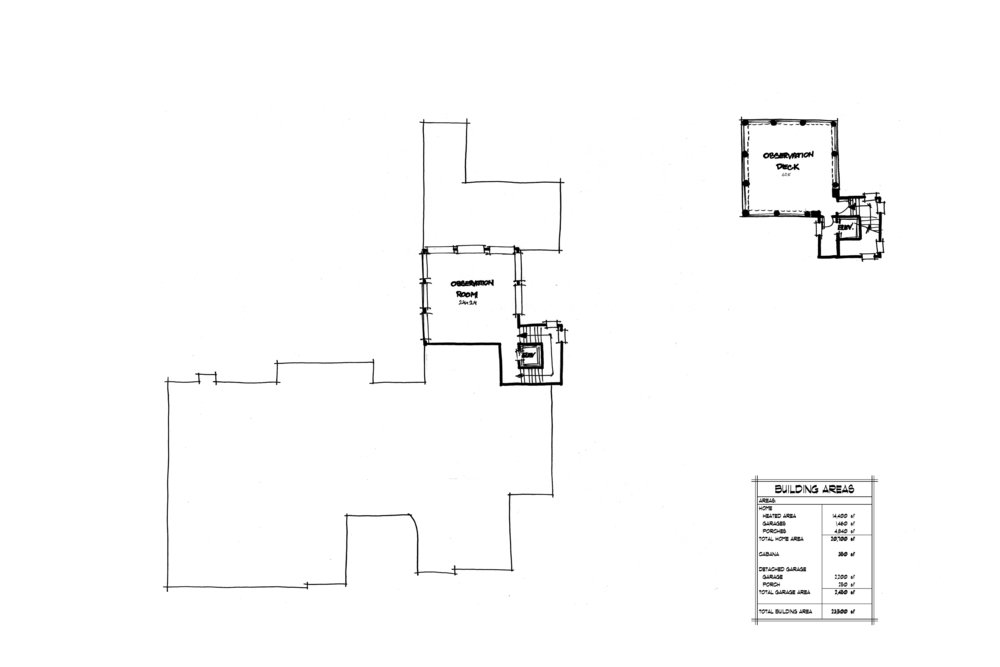 OBSERVATION TOWER THIRD (LEFT) AND FOURTH (RIGHT) FLOOR PLANS