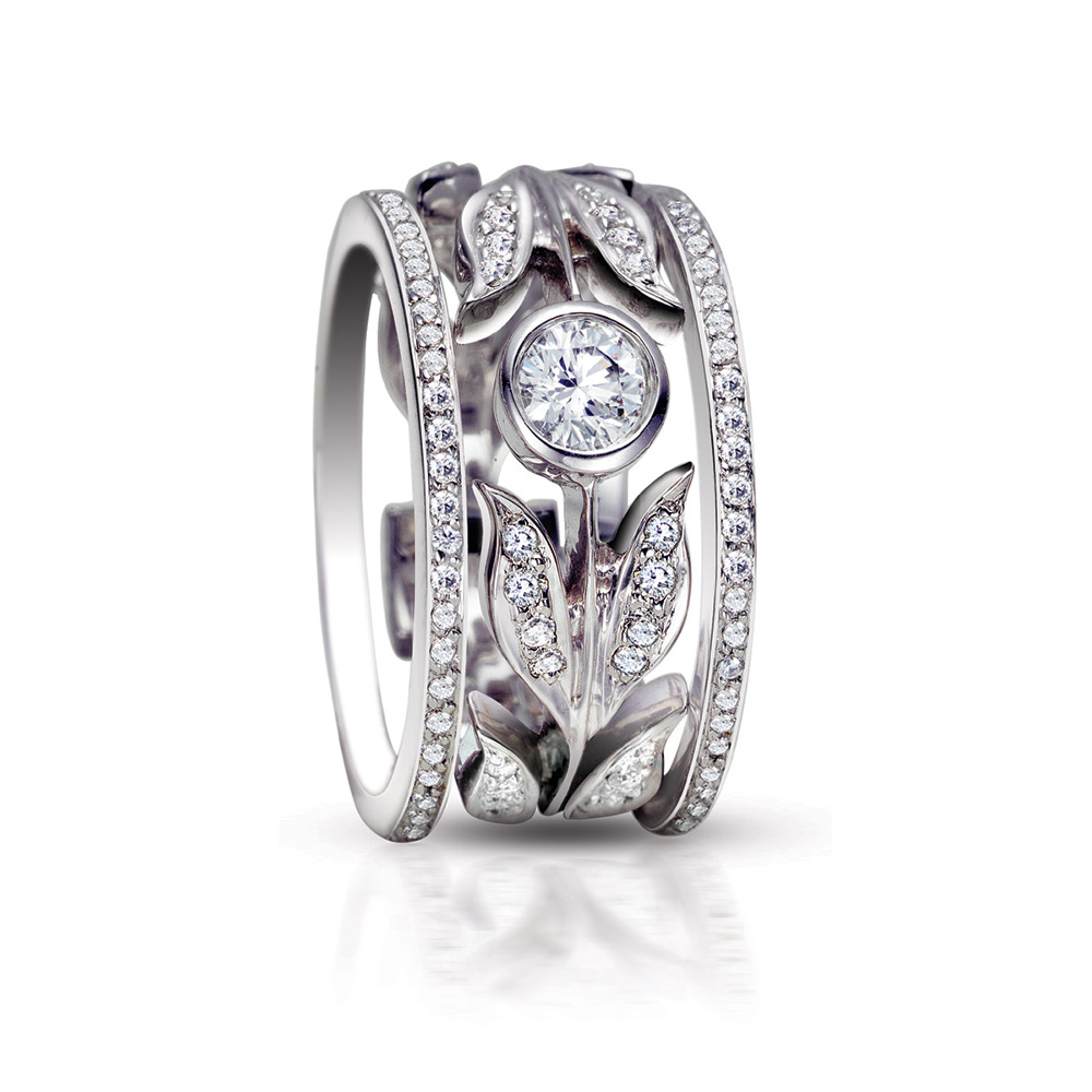 DIAMOND FLOWER STACKABLE BAND